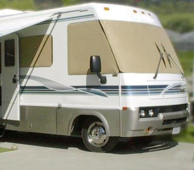 Beige EZ Snap Solar Shades on MotorHome