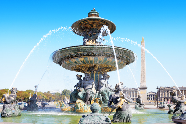 Famous fountain Place de la Concorde, Paris, france, Obelisk of