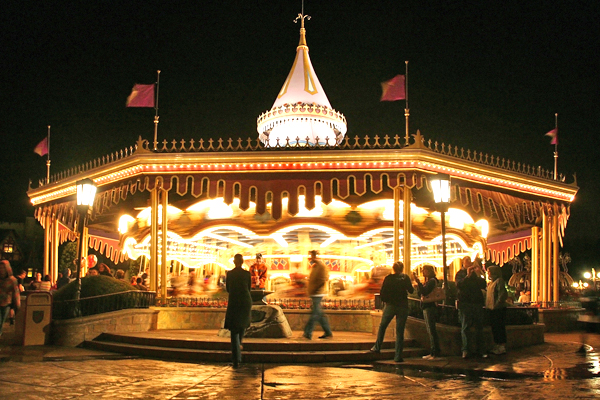 Carousel or merry-go-round in motion blur