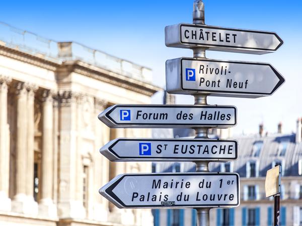 PARIS, FRANCE, on AUGUST 26, 2015. Elements of city navigation.