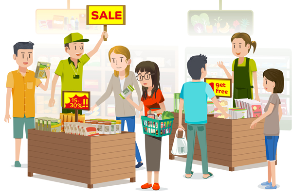 People were buying discounted products.summer sale.The shopping