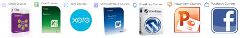 Horizontal Banner with software training courses in MYOB, Excel, WordPress, Word, Xero, Facebook and digital social media marketing