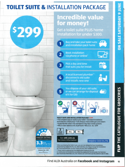 Marketing Academy - Creating the Perfect Offer - Magazine Advertisement - 1 Aldi Toilet Suite & Installation Package -small