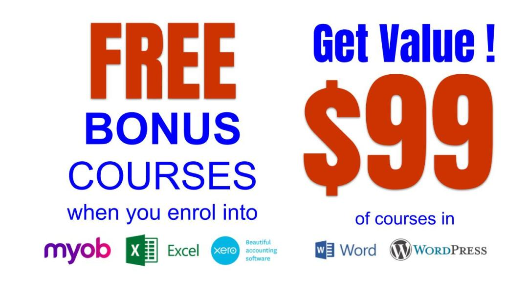 Free WordPress or Microsoft Word Beginners Course with COMPLETE Package of beginners to advanced Xero, Excel or MYOB Training Courses
