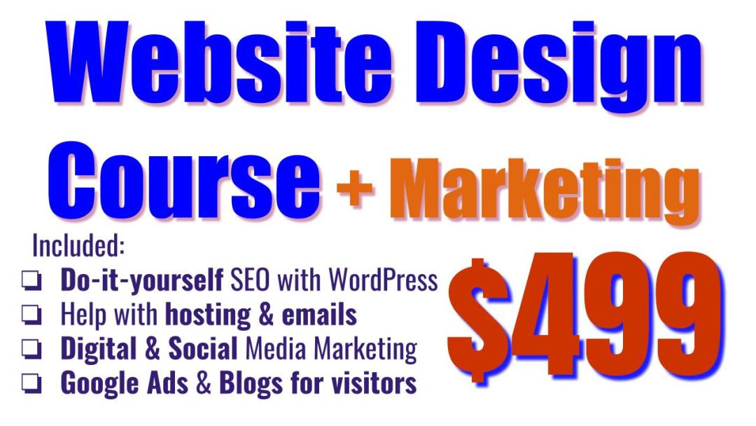 Website Design Training Course including SEO with WordPress and Digital Marketing Training Course for $499