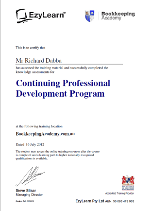 EzyLearn BA Certificate for CPD after MYOB Training courses