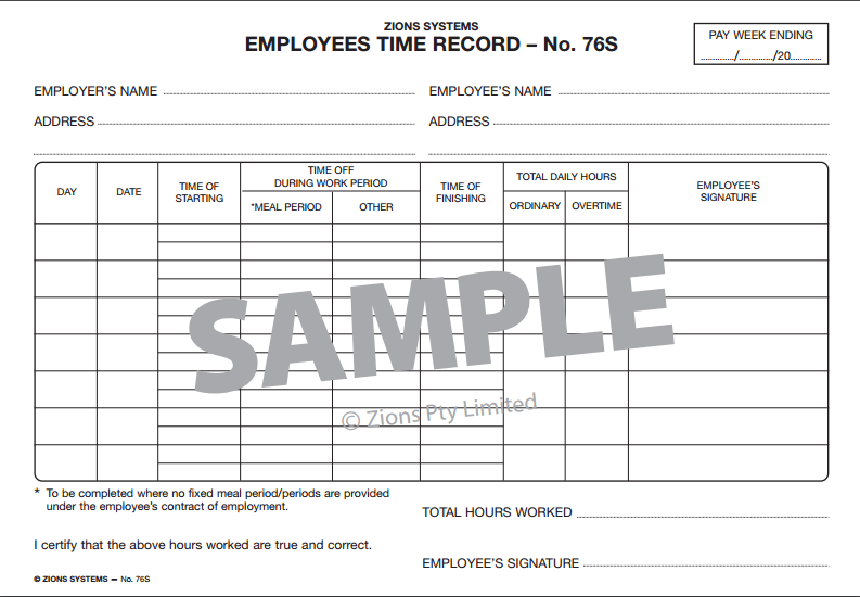 zions systems manual timesheet and employee record for staff roster