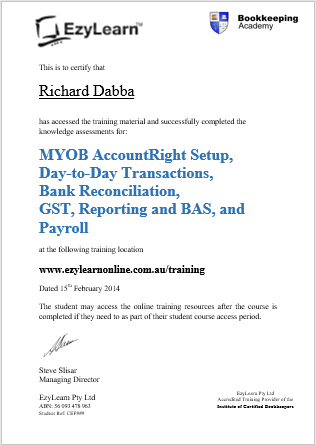 EzyLearn Certificate Of Completion Fo Bookkeeping Courses In MYOB Xero  Intuit Quickbooks  Certificate Of Completion Training