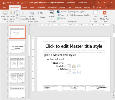 Microsoft PowerPoint Advanced Course - Slide, Title and Text Template Masters for corporate presentation consistence