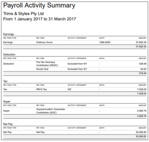 Xero Advanced Payroll Administration Training Course & Certificate - Payroll Activity Summary Report