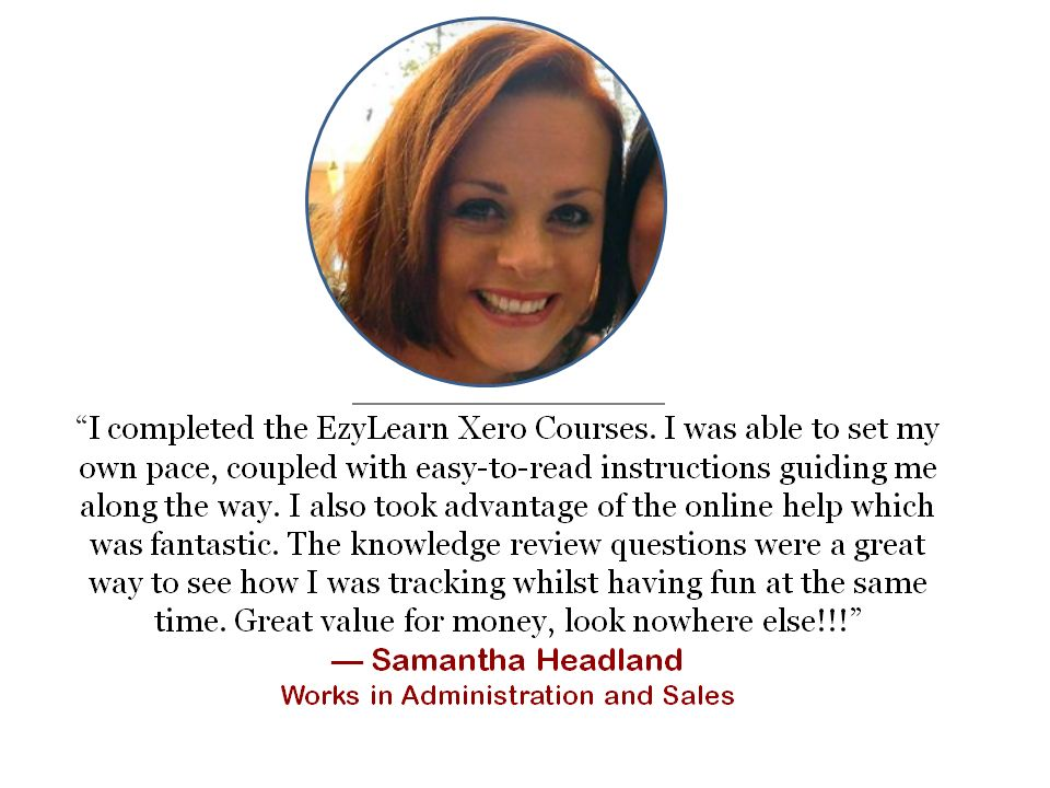 office and administrator testimonial for online XERO training course study
