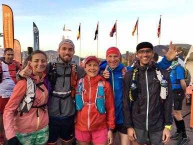 Trail des Balcons d'Azur-Sophie, julien, brice, alain et moi au départ
