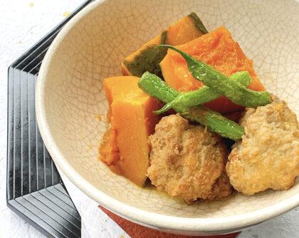 かぼちゃと鶏の揚げ団子の煮物