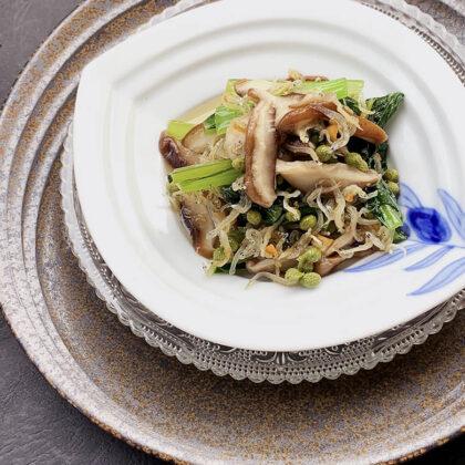 小松菜とじゃこ、椎茸の実山椒オイル