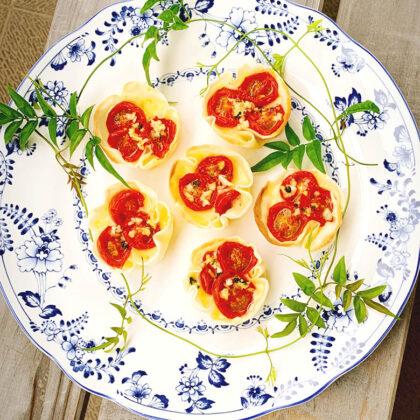 ドライトマトの餃子の皮グラタン
