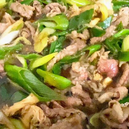牛肉とネギ、山伏茸のすき焼き
