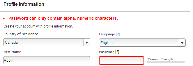 Password can only contain alpha, numeric characters.