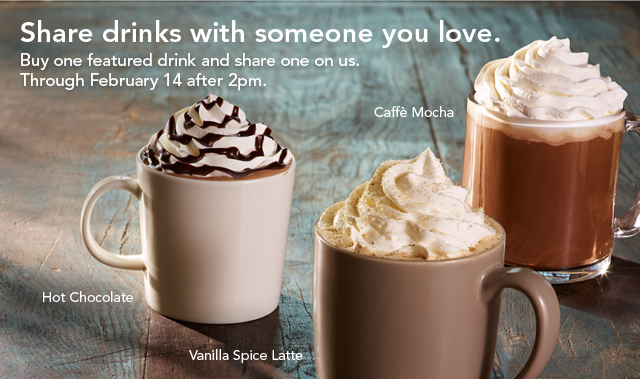 starbucks, valentine, valentine's, coupon, offer, discount, bogo, buy one get one, b1g1