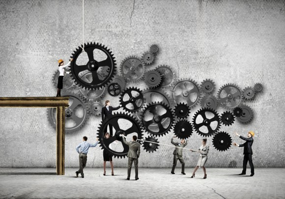 Conceptual image of businessteam working cohesively. Interaction and unity-2