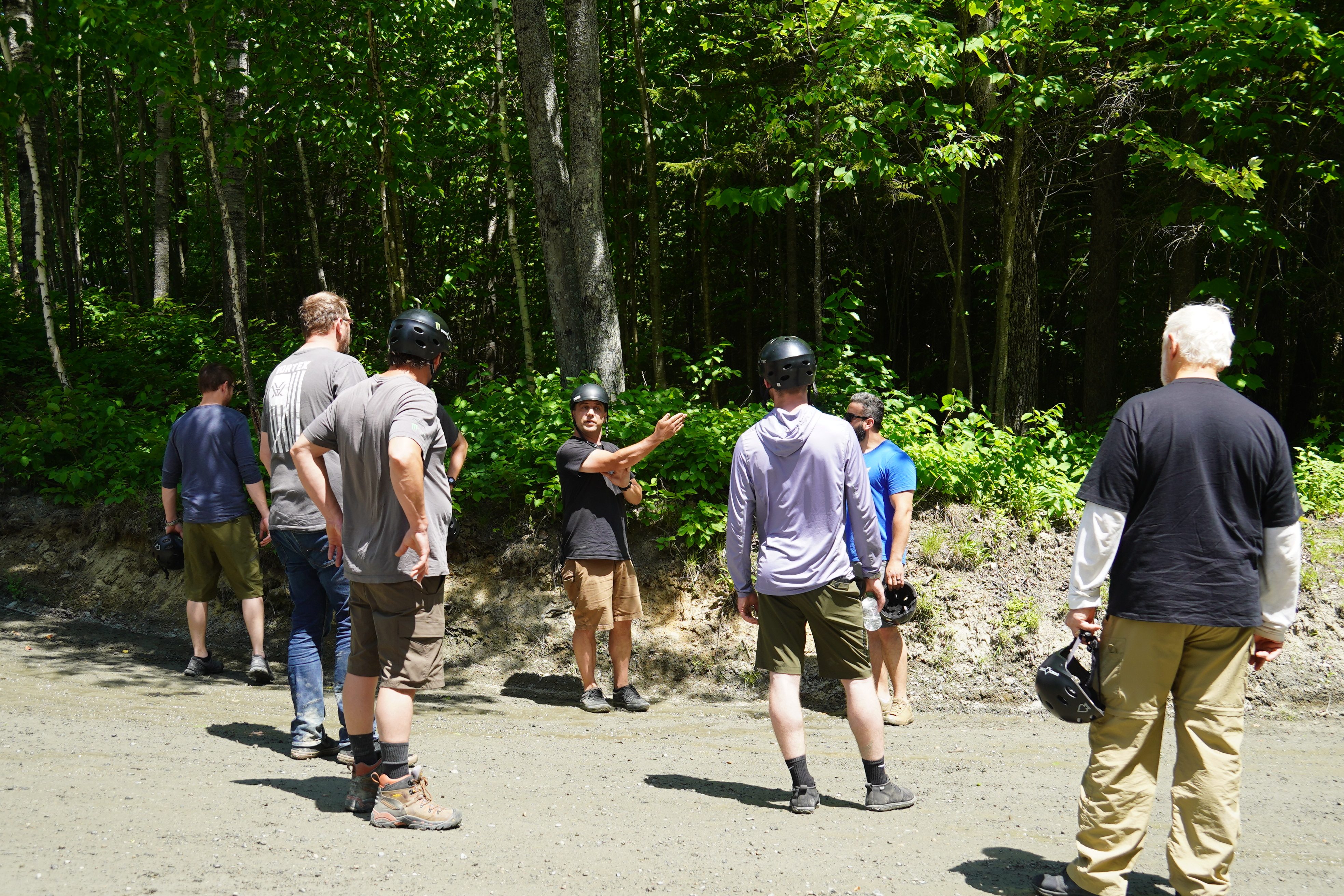 Instructor Jamie explaining road conditions and how to navigate the turns.
