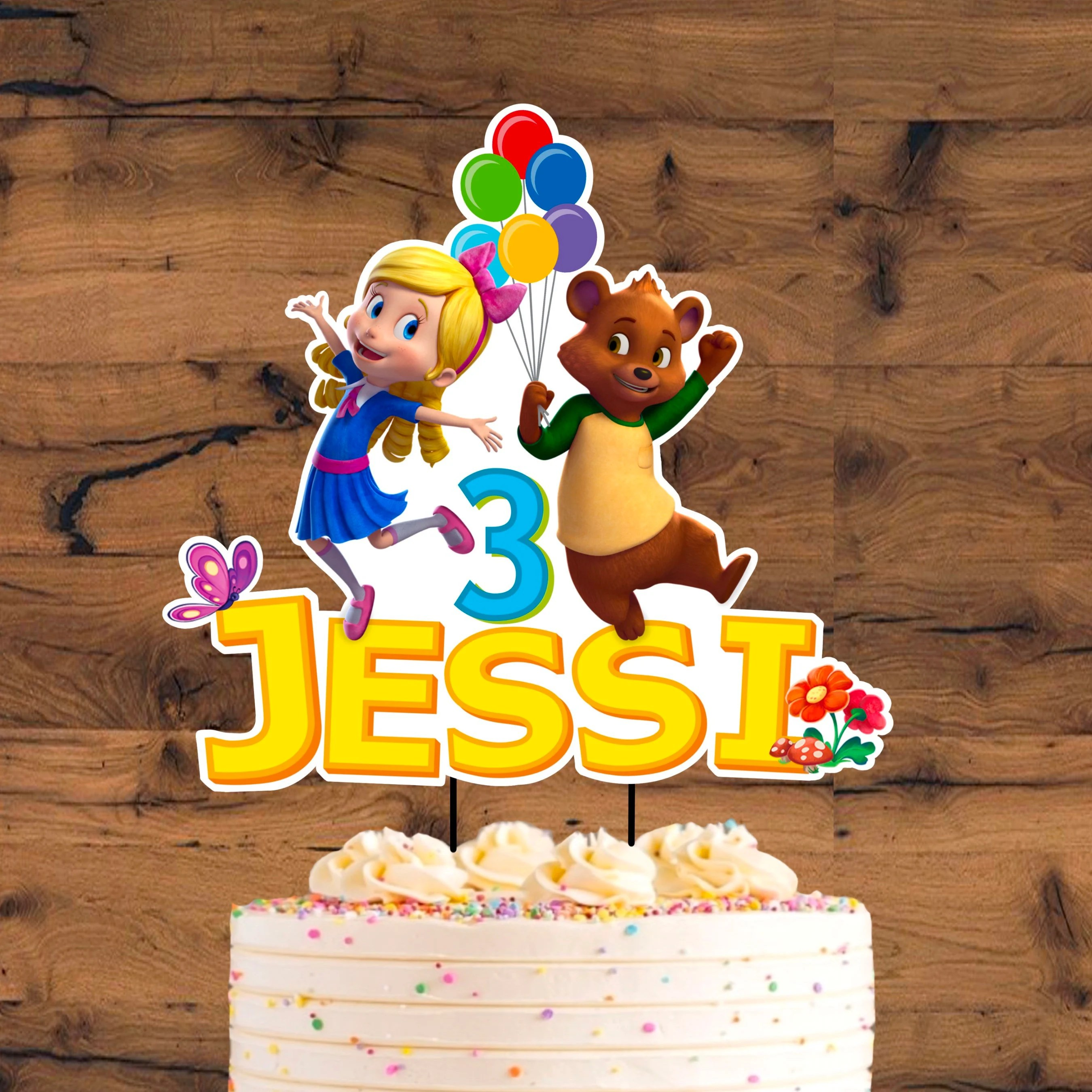 Goldie And Bear Cake Topper Printable Goldie And Bear Etsy
