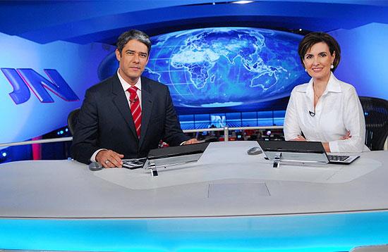"""William Bonner e Fátima Bernardes, apresentadores do """"Jornal Nacional"""", da Rede Globo"""