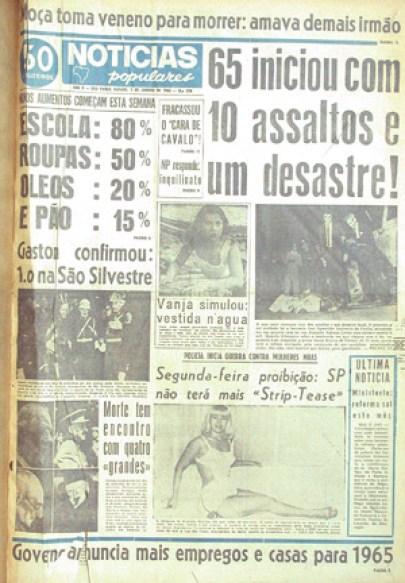 """Em 1º de janeiro de 1965, o """"Notícias Populares"""" já informava a onda de violência que alarmava os moradores de São Paulo"""
