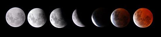 Fotos tiradas em 2007 mostra eclipse da Lua; fenômeno desta quarta-feira deve durar uma hora e 40 minutos