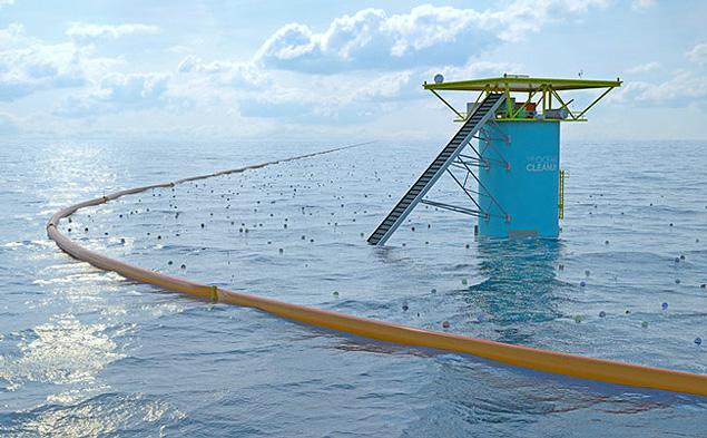 Torre fixa e barreiras flutuantes do projeto The Ocean Cleanup ---- para texto da colunista Mara Gama.