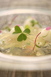 Aspic de pepino e pimenta-cambuci, receita criada pela chef Helena Rizzo, do Man�