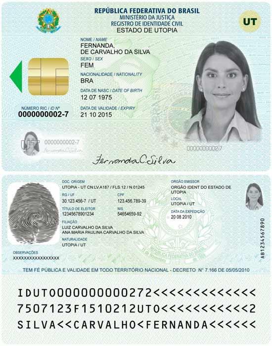 Cartão RIC (Registro de Identidade Civil), que irá substituir o RG (Registro Geral) no Brasil