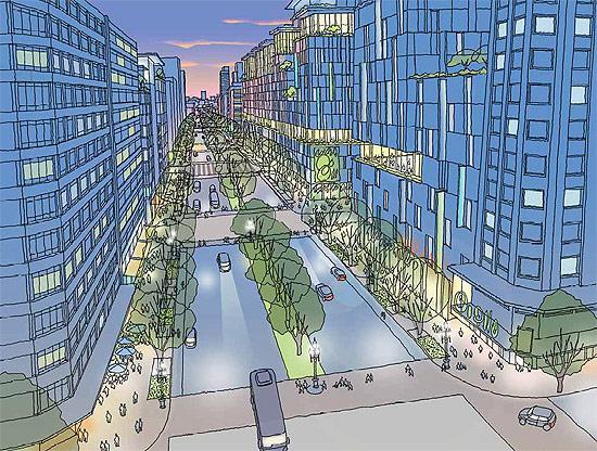 Desenho do Projeto Nova Luz, que pretende mudar parte da região central da cidade