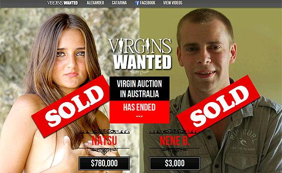 Reprodução da página na internet onde foi feito o leilão da virgindade dos dois jovens