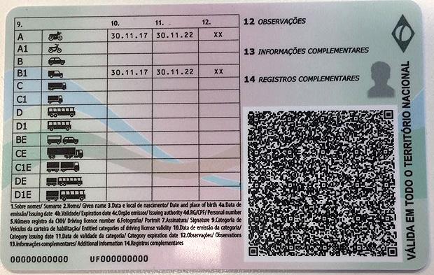 """Nova CNH vai adotar o formato de """"cartão inteligente""""; na imagem, a parte de trás do documento"""