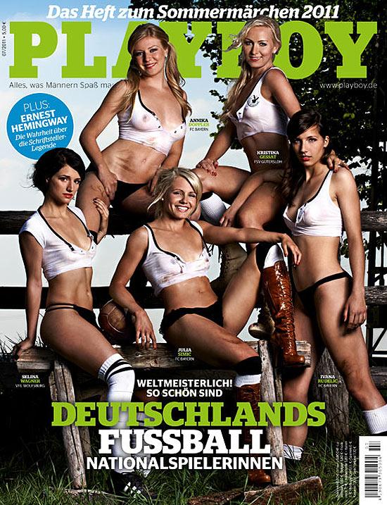Capa da revista 'Playboy' alemã com as jogadoras da seleção de futebol do país