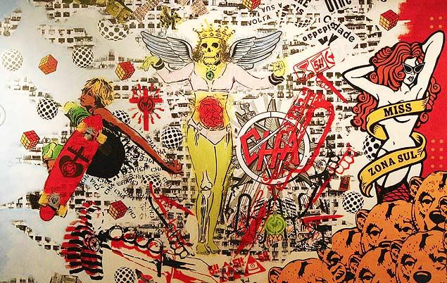 SÃO PAULO, SP, BRASIL, 17.03.2011. O mural de estêncil arte criado pelos artistas da exposição Elemento Vazado, em cartaz na Matilha Cultural. (Foto: Moacyr Lopes Junior/Folhapress, FOLHATEEN).