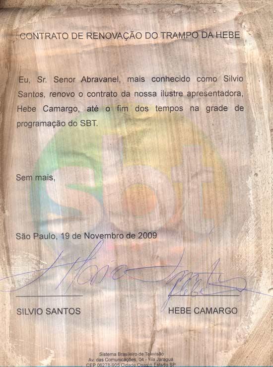 O papiro e contrato da Hebe, já com a assinatura de Silvio Santos e da apresentadora