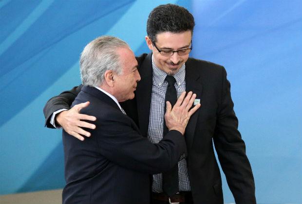 O presidente Michel Temer durante cerimônia de posse do jornalista Sérgio Sá Leitão como Ministro da Cultura