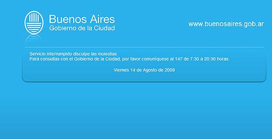 Mensagem na página do governo de Buenos Aires, que sofreu ataque virtual devido a protesto contra imposto de tecnologia