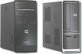 Compaq Presario, desktop que custa US$ 369,99 na Best Buy (esquerda) e HP Pavilion SlimlineS5120F, que sai por US$ 409,99