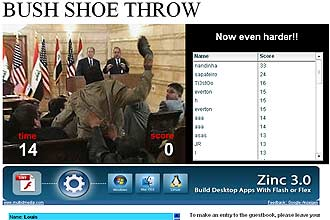 No site, qualquer internauta pode imitar o jornalista iraquiano e atirar o sapato no presidente dos Estados Unidos, George W. Bush