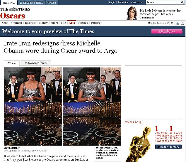 Reprodução mostra mudança feita por emissora iraniana em vestido da primeira dama dos EUA, Michelle Obama