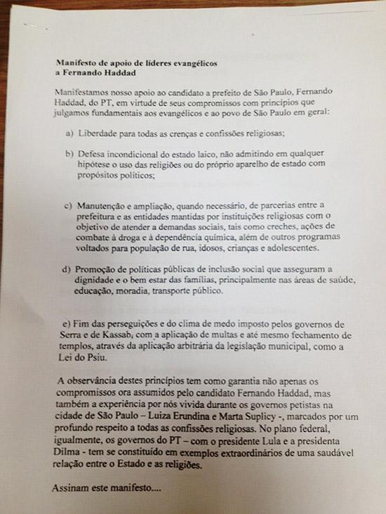 Manifesto de apoio de líderes evangélicos a Fernando Haddad