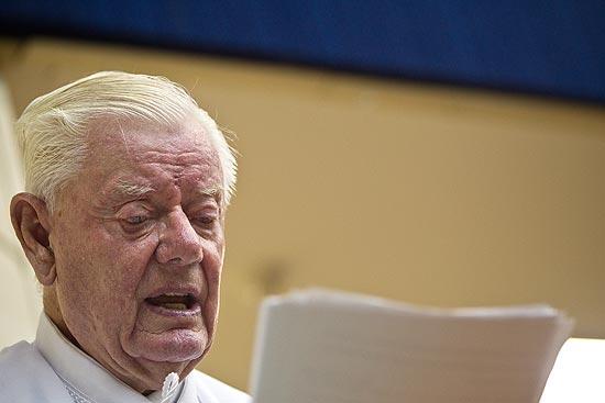 O jurista alemão Claus Roxin, 81, em seminário na EMERJ, no Rio de Janeiro