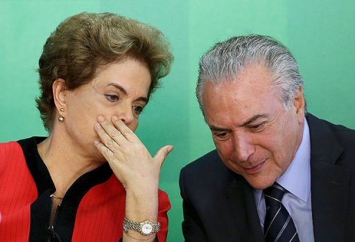 Brazil's President Dilma Rousseff (L) talks to Vice President Michel Temer at the Planalto Palace in Brasilia, Brazil, in this March 2, 2016 file photo. REUTERS/Adriano Machado/Files ORG XMIT: BSB101