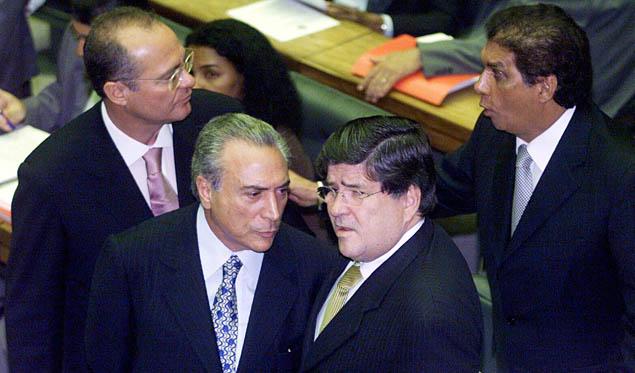 Senador Renan Calheiros, presidente do PMDB, deputado Michel Temer, Sergio Machado e o deputado Jader Barbalho, no plenario da camara federal. Brasilia, 25.02. 2003 Foto : Bruno Stuckert/ Folha imagem.