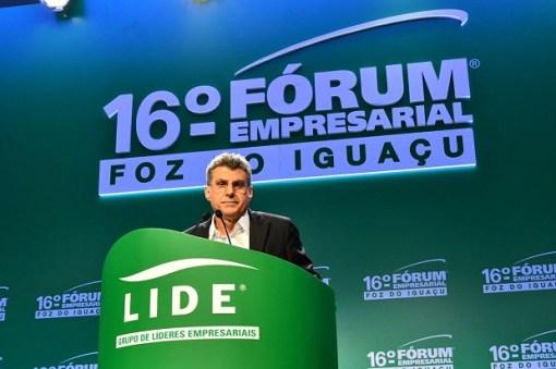 O senador Romero Jucá (PMDB-RR) em encontro empresarial em Foz do Iguaçú
