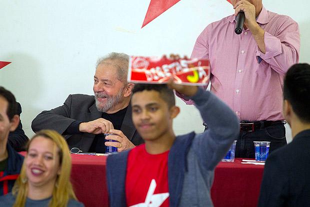 O ex-presidente Lula em evento do PT em São Bernardo do Campo