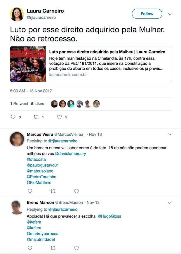 Perfis marcam Twitter de famosos em publicação de deputada no Twitter