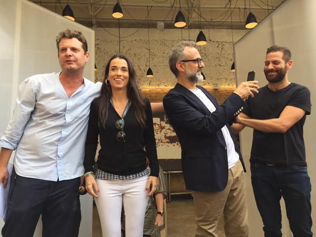 Da esq. para a dir., David Hertz, Alexandra Forbes, Massimo Bottura e Gustavo Cedroni no Refettorio Gastromotiva